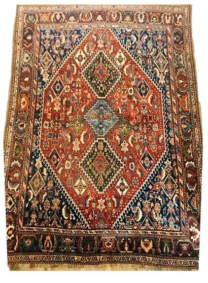 Tapis Iranien Qashqai à médaillon hexagonal...