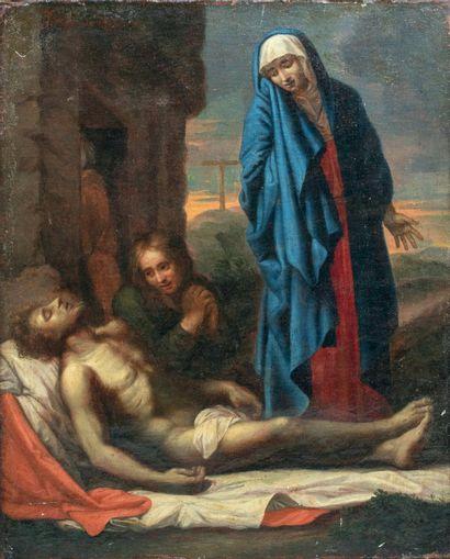 Ecole française XVIIème siècle La déploration du Christ Huile sur toile 48 x 39 ...