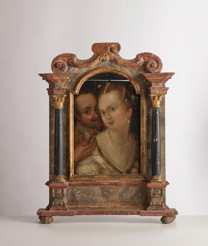Dans le goût de l'école du Nord du XVIème siècle Portrait of a couple Oil on panel....
