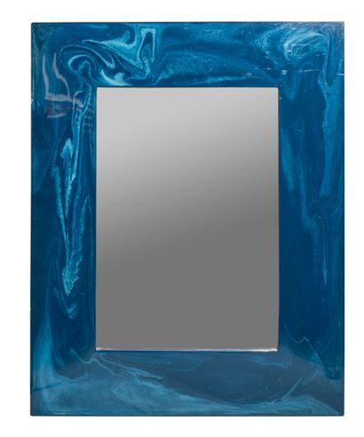 Miroir rectangulaire en bois laqué bleu à...