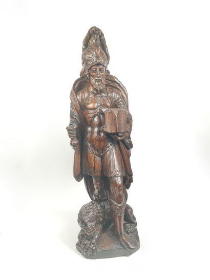 Saint Marc Sculpture en chêne Fin du XVIIème...