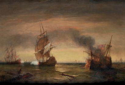BARRY François (1813-1905) «Bataille navale» Huile sur toile signée en bas à gauche...