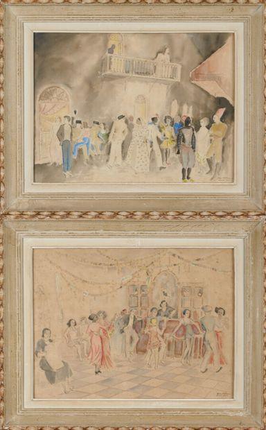 BOLHMAN Edgard (1902 - ?) «Scènes de bal en Afrique du Nord» deux aquarelles formant...