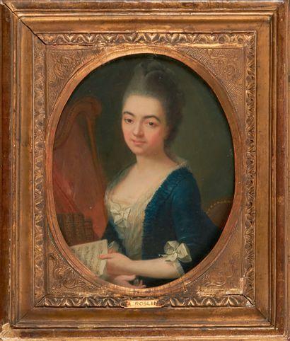 Ecole Française du XVIIIème siècle Portrait de jeune femme à la harpe tenant une...