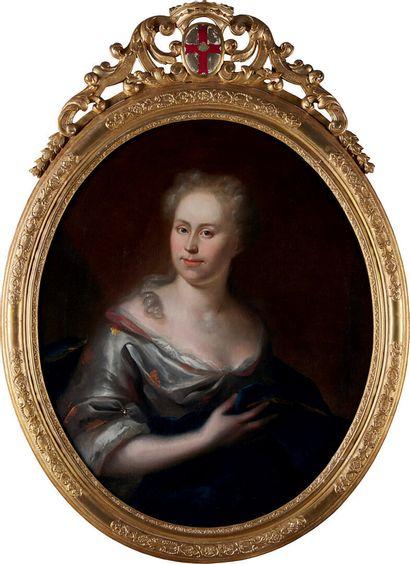 École FRANÇAISE de la fin du XVIIIème siècle «Portrait de dame tenant un ouvrage»...