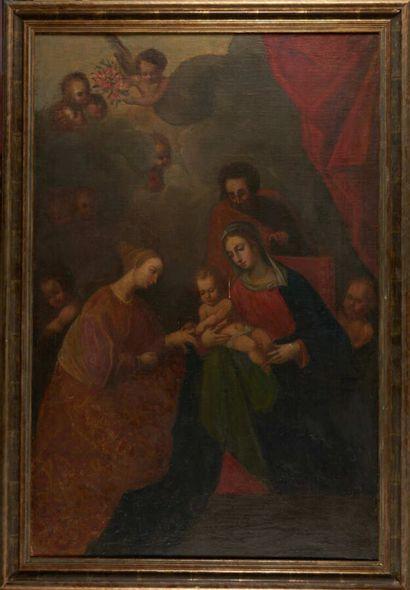 Dans le goût de l'école espagnole du XVIIème siècle Le mariage mystique de Sainte...