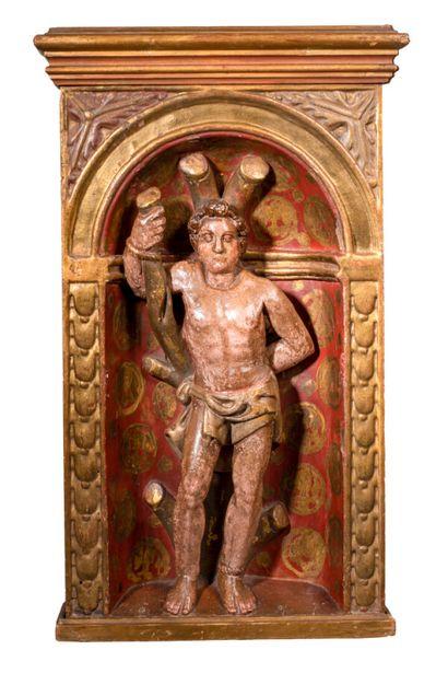 Saint Sébastien en haut relief en bois polychrome...