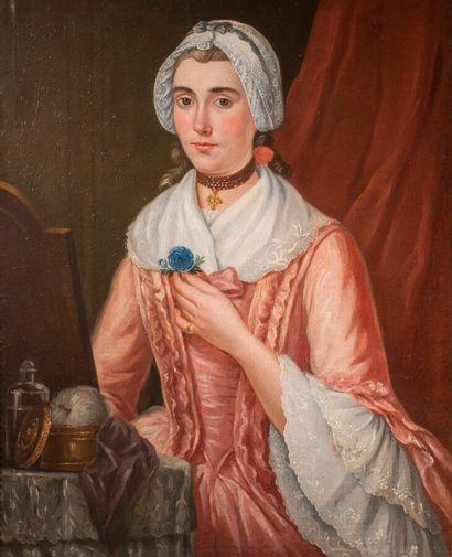 Ecole fin XVIIIème Femme à sa table de toilette Huile sur toile 79 x 63 cm