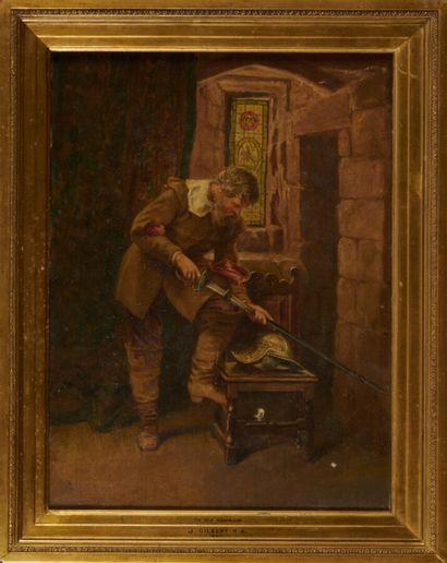 GILBERT J. «Homme à l'épée» huile sur toile signée en bas à gauche et datée 1857...