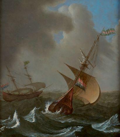 Attribué à PORCELLIS Jan (c.1584-1632) «Navires de haut bord sous le vent» cuivre...