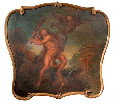 École allemande, fin du XVIIème siècle Hercule et les oiseaux du lac Stymphale, le...