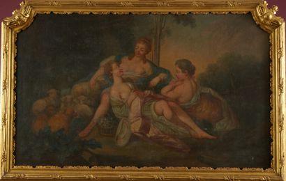 Ecole XVIIIème «Les trois amies» Huile sur toile retoilée 59 x 95 cm (griffures)