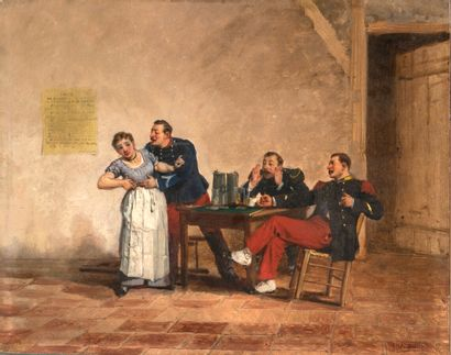 Alfred Émile GAUBAULT (1879-1895) The Merry Company Oil on panel, signed lower right...