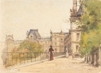 Attribué à Henri HARPIGNIES (1819-1916) Elégante devant les Tuileries Aquarelle porte...
