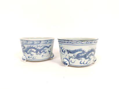 Paire de deux pots tripodes à décor en bleu...