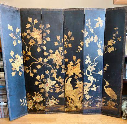 Petit paravent Japon à 6 feuilles d'oiseau...
