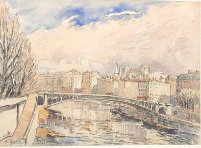 André LEVEILLE (1880-1963)  Le pont  Aquarelle...