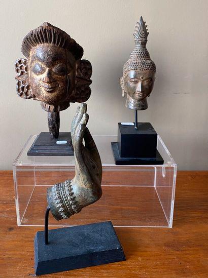 Tête en bronze Thaïlande (16 cm), main Thaïlande...