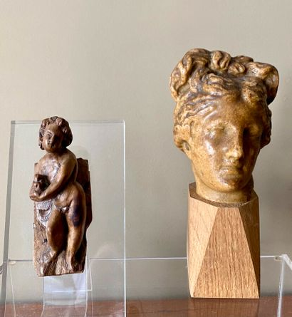 Amour en bois sculpté (10 cm)et tête féminine...