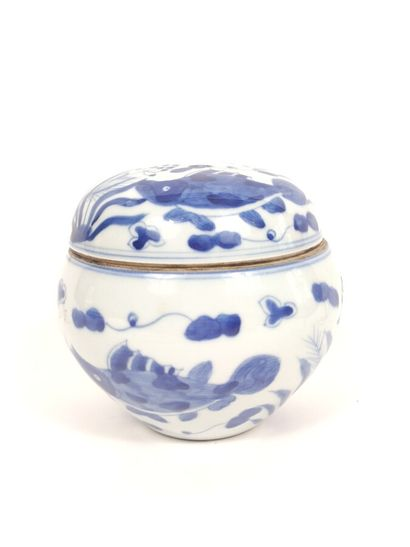 CHINE  Pot à gingembre à décor en bleu ,...