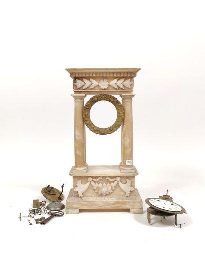 Monture de pendule colonne en albâtre (le...