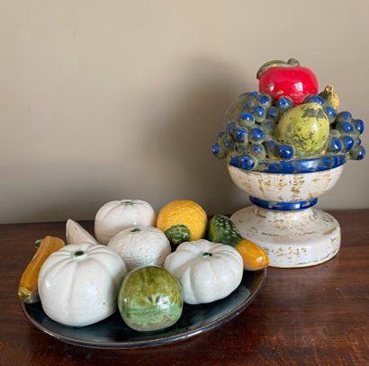 Coupe de fruits en céramique (23 cm) et assiette...