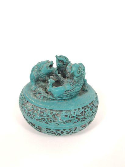 CHINE,  Boîte à onguents en laque colorée...