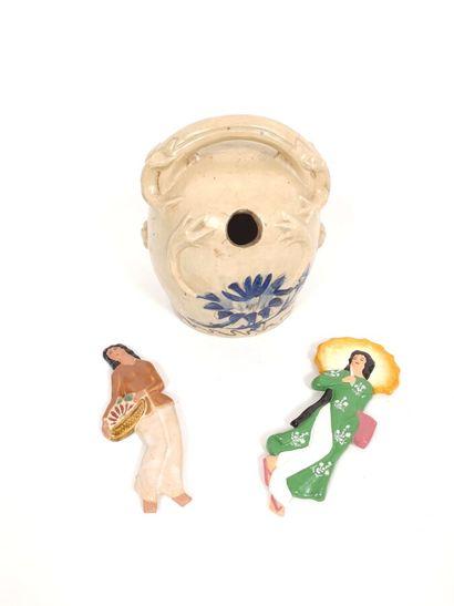 Ancien pot à Chaux en céramique, à décor...
