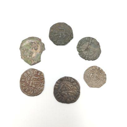 Lot de 6 monnaies médiévales, royales, féodales...