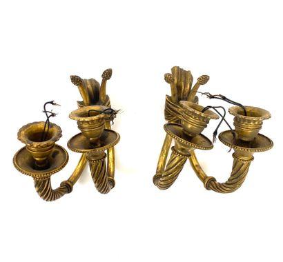 Paire d'appliques en bronze doré à deux branches...