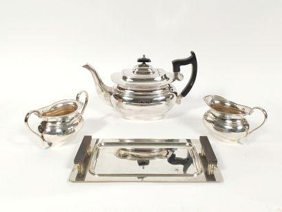 Service à thé café en métal argenté anglais...