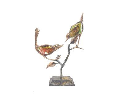 LOHE. Arbre aux oiseaux. Sculpture en bronze...
