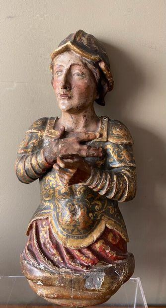 Belle figure d'apllique en bois stuqué polychrome....