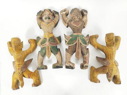INDONESIE  Ensemble de quatre garuda/ éléments...