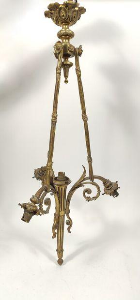 Monture de lustre en bronze doré  Hauteur...