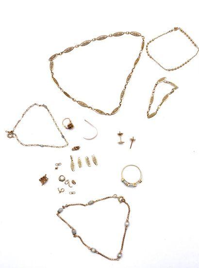 Un lot de débris d'or(750 millièmes) (Poids...