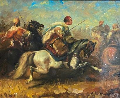 Ecole XIXème. Scène de cavalerie. Huile sur...