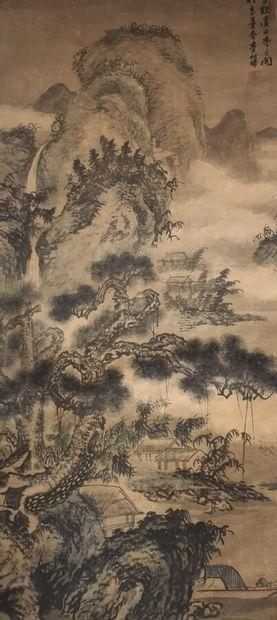 CHINE  Peinture sur rouleau à décor de paysage...