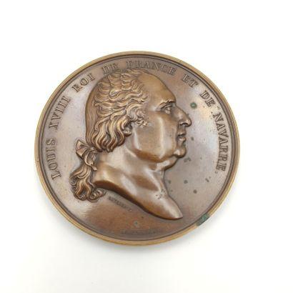 Louis XVIII (1815-1824). Médaille en bronze...