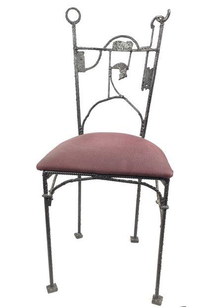 Travail XXème  Paire de chaises fer forgé...