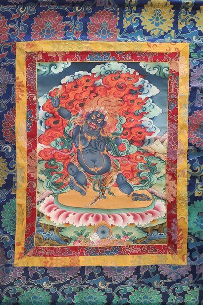 Thangka représentant la divinité courroucée...
