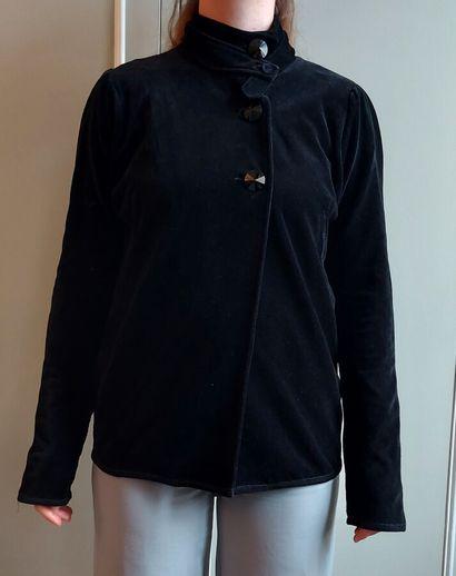 SONIA RYKIEL  Veste en velours noir à double...