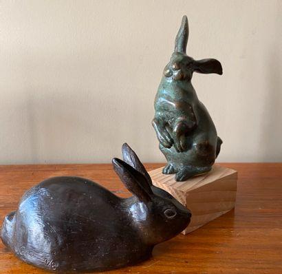 Nicole CANE: lapin couché en bronze à patine...