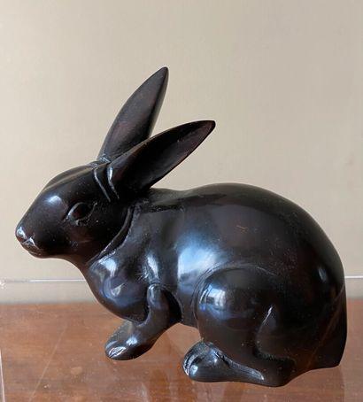 Lapin en bronze à patine noire (12 x 15 ...