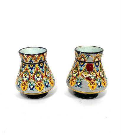 Jules VIEILLARD. Paire de petits vases en...