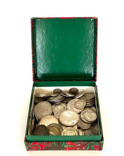 Lot de pièces en argent : françaises, suisses,...