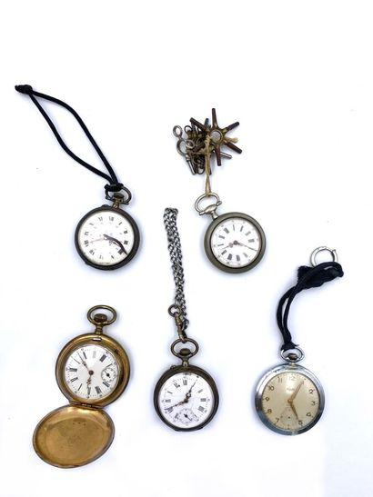 Ensemble de 5 montres de gousset en méta...