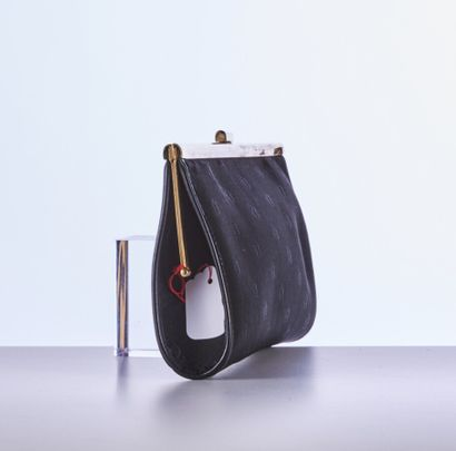 CHRISTIAN DIOR  EVENING POCKET in black canvas with gold metal signature  28 x 13...