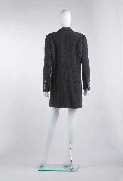 CHANEL - 2006  Tuxedo coat in black silk satin and wool with jewelled buttons (...