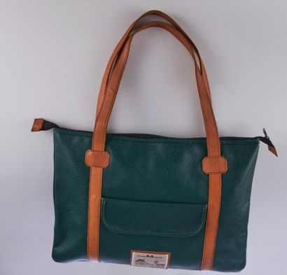 AALLARD DE MEGÈVE  LARGE CABAS in green grained leather and smooth natural  55 x...